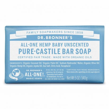 Dr. Bronner's Pure-Castile Soap Bar - Baby Mild Unscented 140g