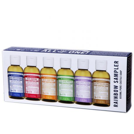 Dr Bronner's Pure-Castile Liquid Soap (Hemp 18-in-1) Rainbow Sampler 59ml x 6 Pack